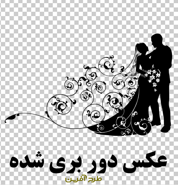 وکتور عروس داماد با گل و بوته