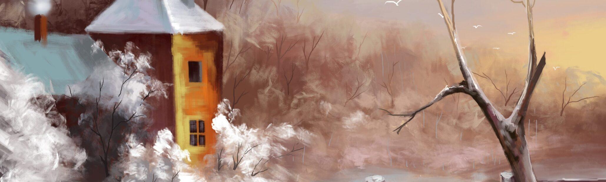 دانلود طرح لایه باز نقاشی کلبه و درخت psd